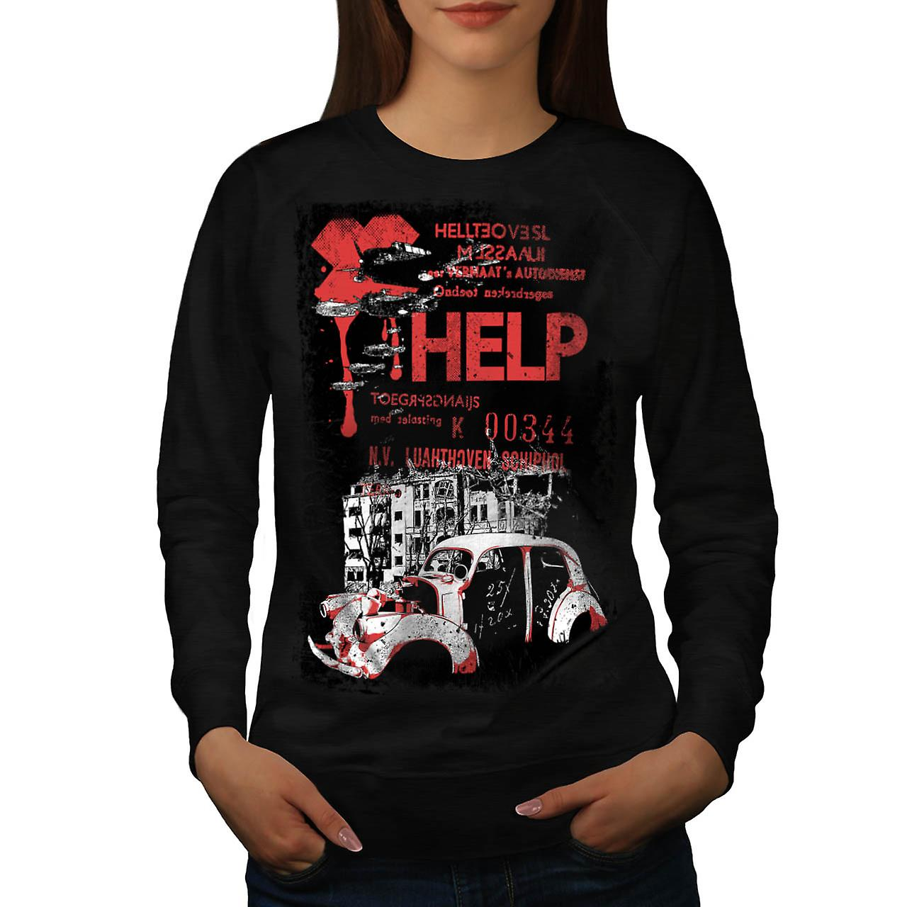 Help Hell City Fashion Women Black Sweatshirt | Wellcoda