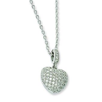 Sterling Silver and CZ Brilliant Embers Heart Necklace - 18 Inch