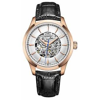 Rotary Mens Leather Strap Rose Gold Plated Case GS05036/06 Watch