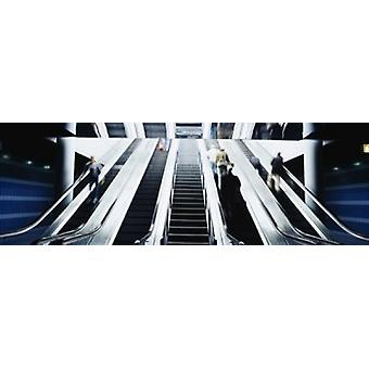 Group of people on escalators at an airport OHare Airport Chicago Illinois USA Poster Print