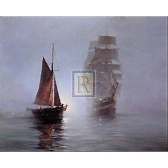 Night Mists Poster Print by Montague Dawson (35 x 29)