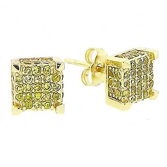 925 Sterling MICRO PAVE Ohrstecker - CUBE 8mm full gold