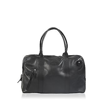 Rowallan Textured Leather Holdall in Black
