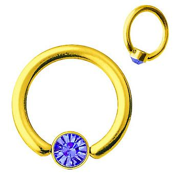 Smiley-Piercing BCR Gold vergoldet Titan 1, 2mm, SWAROVSKI ELEMENTS Saphirblau | 6-10 mm