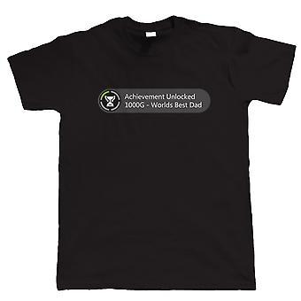 Achievement Unlocked - Worlds Best Dad, Mens Funny Gamer Tshirt