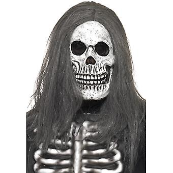 Skeleton mask with wig zombie Halloween costume
