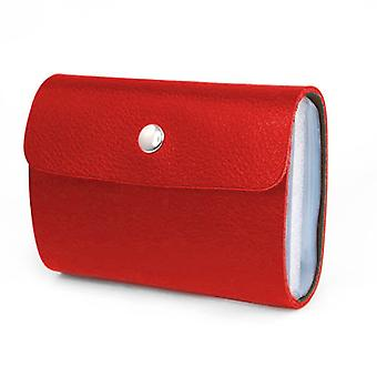 TRIXES Soft Red Faux Leather Credit Card Holder Wallet with 26 Clear Sleeves