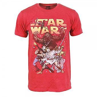 Star Wars Mens Star Wars Comic Battle T Shirt Red