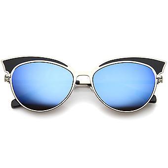 Womens bicolore métal surdimensionnée en miroir chat lunettes Eye 57mm