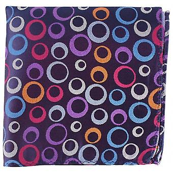 Knightsbridge Neckwear Circles and Stripe Silk Pocket Square - Dark Purple
