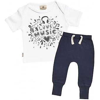 Spoilt Rotten I Love Music Baby Baby T-Shirt & Navy Joggers Outfit Set
