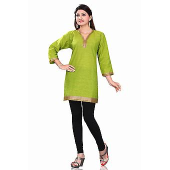 Green 3/4 sleeve Indian Cotton Kurti/Tunic with Golden neckline