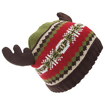 FLOSO Childrens/Kids Fairisle Moose Winter Beanie Hat With Antlers