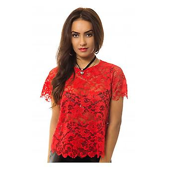 The Fashion Bible Coco Red Lace Boxy Top
