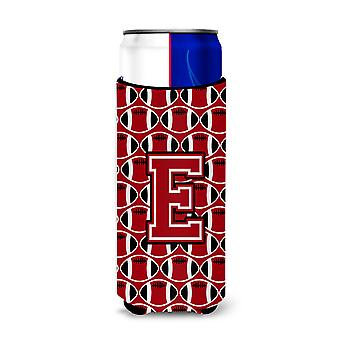 Letter E Football Red, Black and White Ultra Beverage Insulators for slim cans