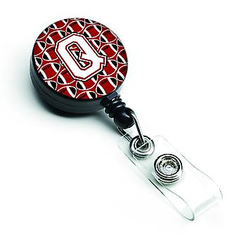 Letter Q Football Cardinal and White Retractable Badge Reel