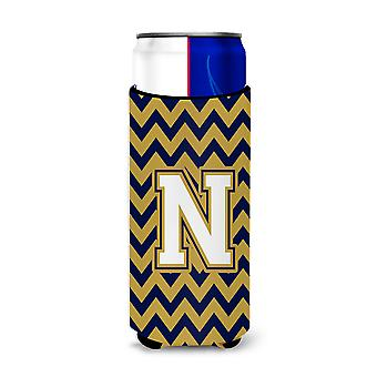 Letter N Chevron Navy Blue and Gold Ultra Beverage Insulators for slim cans