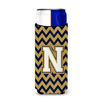 Buchstabe N-Chevron-Navy-Blau und Gold Ultra Getränke Isolatoren für schlanke Dosen