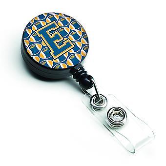Lettera E calcio blu e oro retrattile Badge Reel