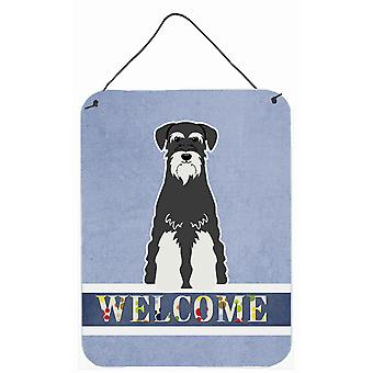 Standard Schnauzer Salt and Pepper Welcome Wall or Door Hanging Prints