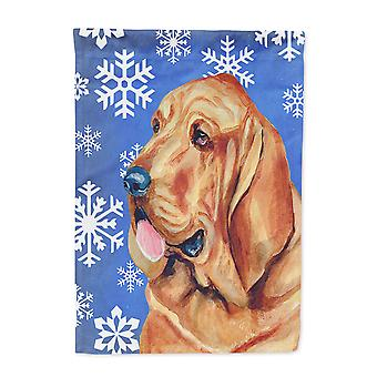Carolines Treasures  LH9286-FLAG-PARENT Bloodhound Winter Snowflakes Holiday Fla