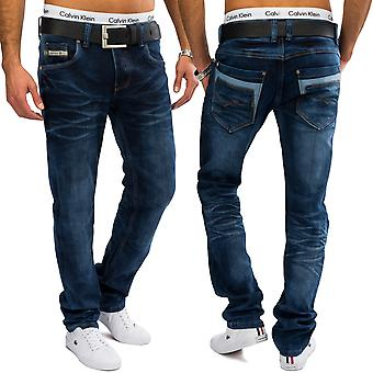 Men's stretch jeans blue regular fit denim straight leg dark blue trousers