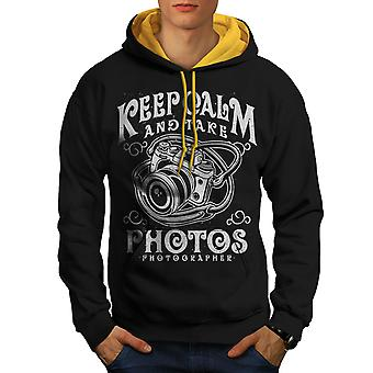 Calm Photographer Fashion Men Black (Gold Hood) Contrast Hoodie | Wellcoda