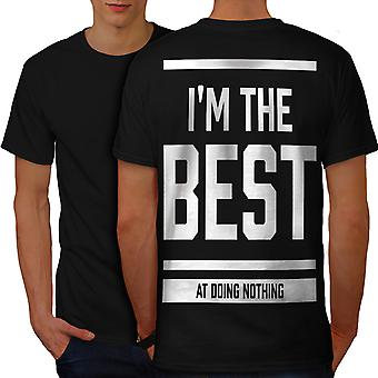 Best Doing Nothing Funny Men BlackT-shirt Back | Wellcoda