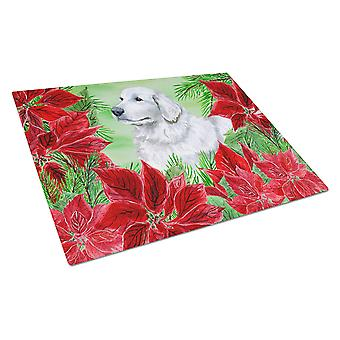 Maremma Sheepdog Poinsettas Glass Cutting Board Large