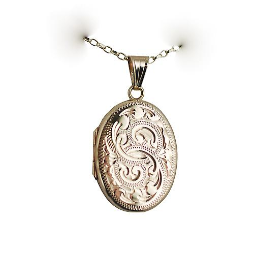 9ct Gold 26x19mm flat oval hand engraved Locket on a belcher Chain 16 inches Only Suitable for Children