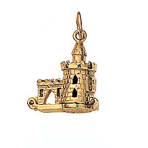 9ct Gold 15x14mm moveable The Bloody Tower Pendant or Charm