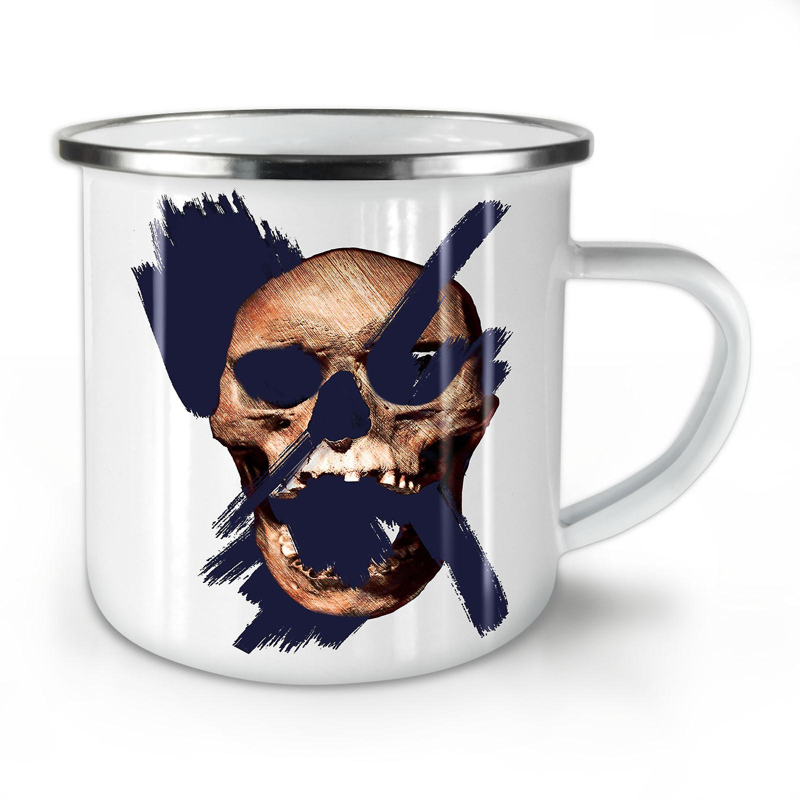 Mug10 Whitetea Metal Enamel Skull Guy Bad Coffee New OzWellcoda kXOPiZu