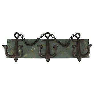 Rustic Metal and Wood Anchor Wine Bottle Holder Wall Hanging