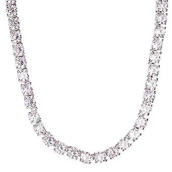 Iced Out Bling ZIRKONIA STEINE 1 ROW Kette - silber