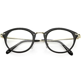Classic Horn Rimmed Round Eyeglasses Thin Metal Arms Clear Lens 47mm