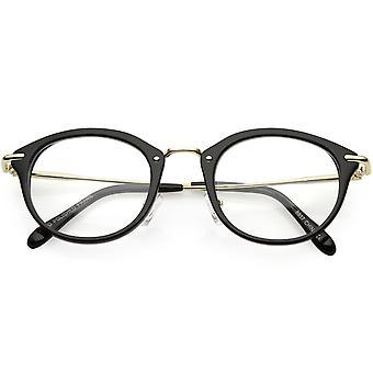 Klassische Horn umrandeten runden Brillen dünne metallarmen Lichtscheibe 47mm