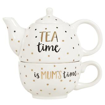 Sass & Belle Modern Monochrome Mum Time Teapot For One