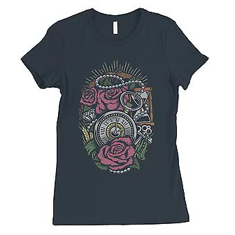 Roses Necklace Watch Womens Navy T-Shirt