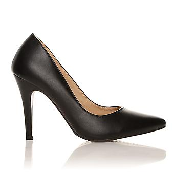 DARCY Black PU Leather Stilleto High Heel Pointed Court Shoes