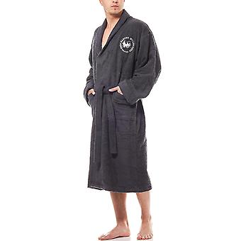 Harvey Miller Polo Club bathrobe men black Terry cloth