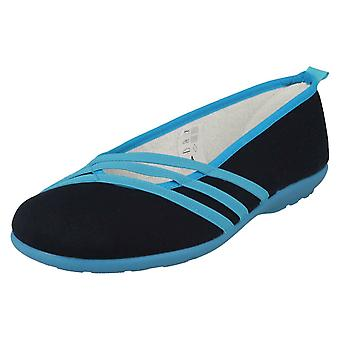 Ladies Easy B Casual Canvas Shoes Sunflower - Navy/Turquoise Canvas - UK Size 6 2V - EU Size 38.5 - US Size 8
