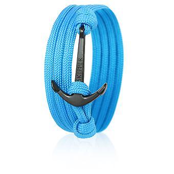 Skipper Anker-Armband Wickelarmband Nylon in Hellblau mit Schwarzem Anker 6623