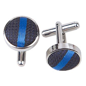 Navy & Mid Blue Single Stripe Cufflinks