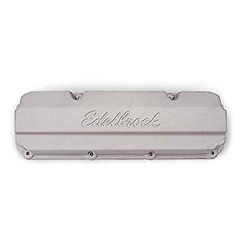 Edelbrock 4267 Racing Series Valve Cover Sand Cast Aluminum w/Logo w/o Tubes for BB Chevy With Big Victor Heads Racing S
