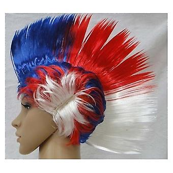 Union Jack Wear Red White And Blue Mohawk Wig
