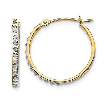 Accent Diamond Hoop Hinged Earrings in 14K Yellow Gold (3/4 Inch)