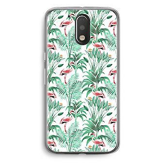 Motorola Moto G4/G4 Plus Transparent Case - Flamingo leaves