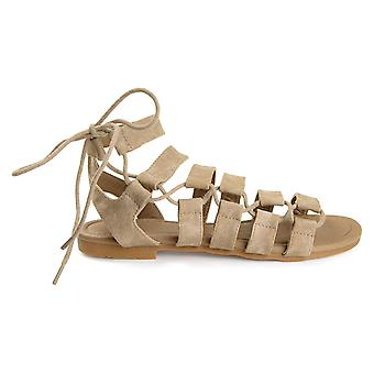 Brinley Co Womens Clove Caged Faux Leather Strappy Gladiator Sandals