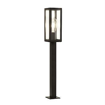 Box Black Outdoor Tall Bollard With Clear Glass - Searchlight 6441-900bk