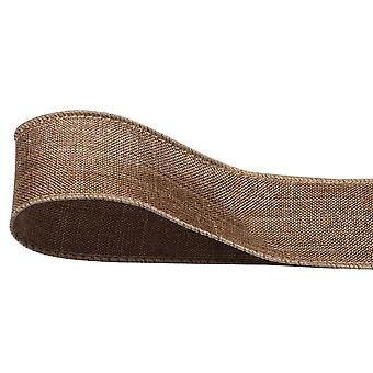 40mm Wide Hessian or Jute Wired Ribbon for Crafts - 10m